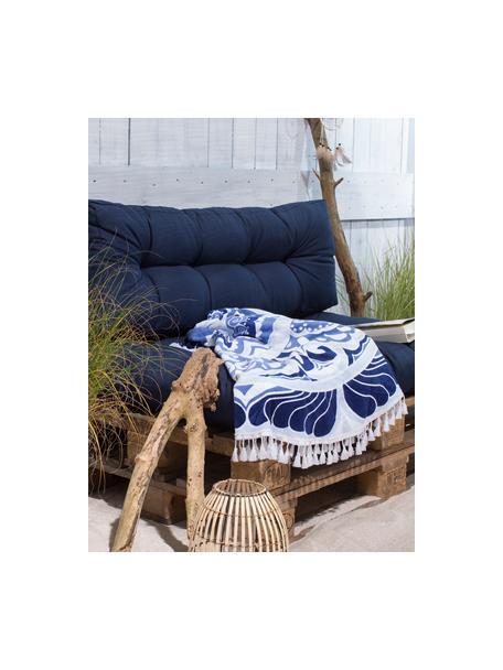 Ręcznik plażowy okrągły Carouse, Odcienie niebieskiego, biały, Ø 150 cm