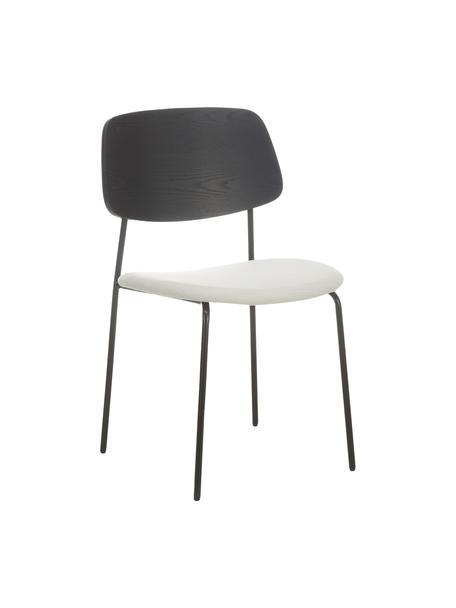 Krzesło z drewna z tapicerowanym siedziskiem Nadja, 2 szt., Tapicerka: poliester Dzięki tkaninie, Nogi: metal malowany proszkowo, Kremowobiały, S 51 x G 52 cm
