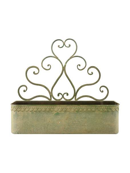 XL wandplantenpot Clarissa, Gecoat staal, Groen, beige, 43 x 38 cm