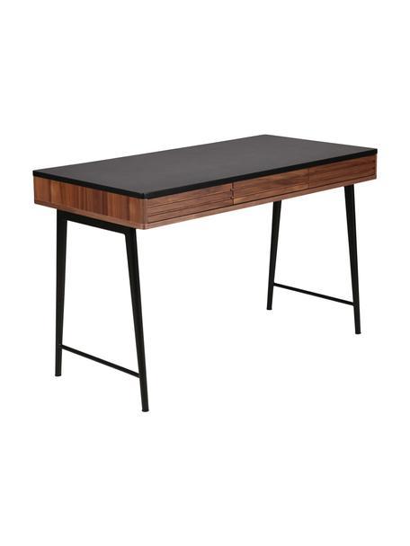 Schreibtisch Nuance mit Schubladen und Rillen-Dekor, Korpus: Mitteldichte Holzfaserpla, Beine: Metall, beschichtet, Braun, Schwarz, B 120 x T 60 cm