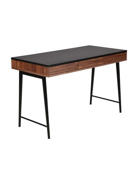 Scrivania con cassetti e decoro scanalato Nuance, Gambe: metallo rivestito, Marrone, nero, Larg. 120 x Prof. 60 cm