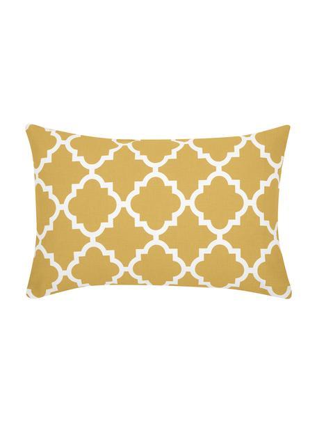 Kissenhülle Lana mit grafischem Muster, 100% Baumwolle, Gelb, Weiß, 30 x 50 cm