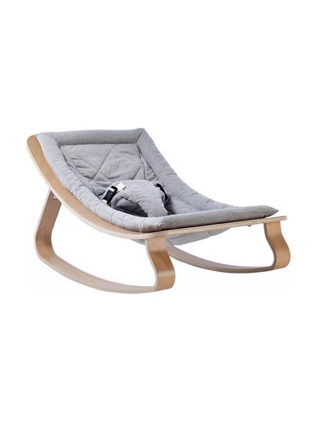 Hamaca bebé Levo, Patas: madera de abedul, madera , Funda: algodón, Beige, gris, An 70 x Al 40 cm