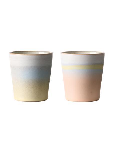 Set 2 tazze retrò senza manico fatte a mano 70's, Ceramica, Multicolore, Ø 8 x Alt. 8 cm