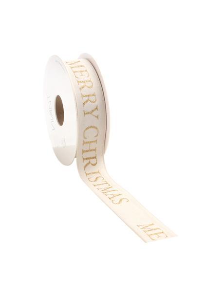 Geschenkband Textire, Polyester, Hellbeige, Goldfarben, 3 x 1500 cm