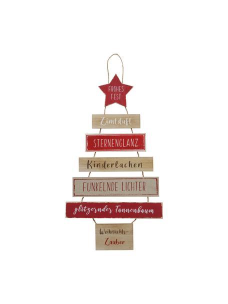Wandobjekt Weihnachtszauber aus Holz H 80 cm, Beige, Rot, Weiß, Schwarz, 40 x 80 cm