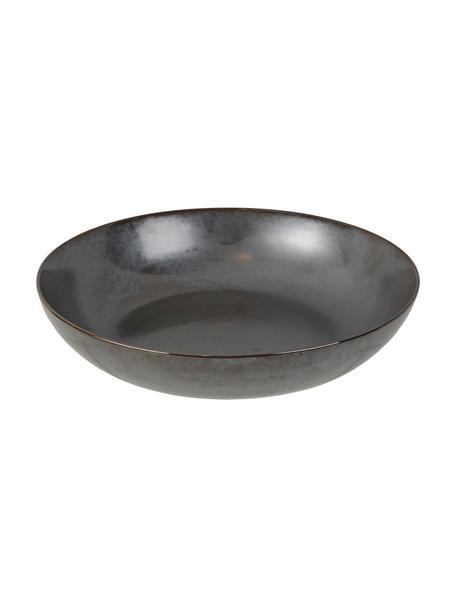 Handgemaakte serveerschaal Esrum Night, Ø 31 cm, Geglazuurd keramiek, Grijsbruin, mat glinsterend zilverachtig, Ø 31 x H 7 cm