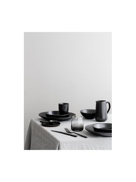 Ensaladera artesanal Esrum Night, Gres, esmaltado, Marrón grisáceo, Ø 31 x Al 7 cm