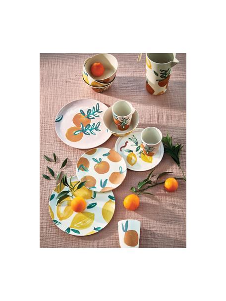 Bambus-Frühstücksteller Sicilian Summer, 4 Stück, Bambusfasern, Beige, Gelb, Ø 20 cm