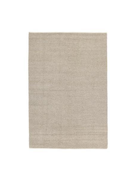 Handgewebter Wollteppich Uno in Taupe mit geflochtener Struktur, Flor: 60% Wolle, 40% Polyester, Taupe, B 120 x L 170 cm (Größe S)