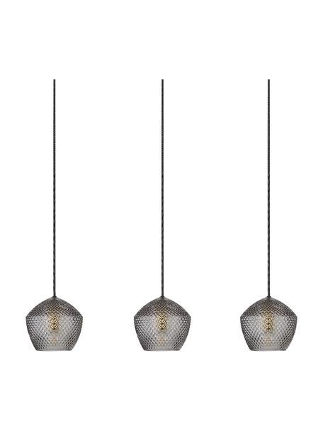 Hanglamp Orbiform van glas, Lampenkap: glas, Baldakijn: gecoat metaal, Messingkleurig, grijs, transparant, 71 x 15 cm