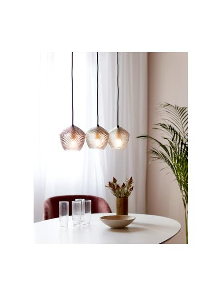 Pendelleuchte Orbiform aus Glas, Lampenschirm: Glas, Baldachin: Metall, beschichtet, Messingfarben, Grau, transparent, 71 x 15 cm