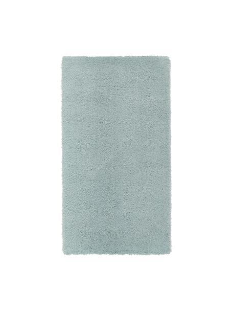 Pluizig hoogpolig vloerkleed Leighton in mintgroen, Bovenzijde: 100% polyester (microveze, Onderzijde: 70% polyester, 30% katoen, Mintgroen, B 80 x L 150 cm (maat XS)