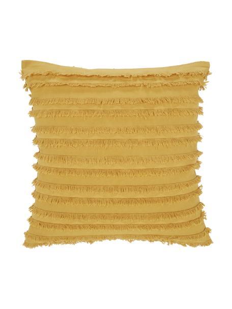 Federa arredo giallo senape con frange decorative Jessie, 88% cotone, 7% viscosa, 5% lino, Giallo senape, Larg. 45 x Lung. 45 cm