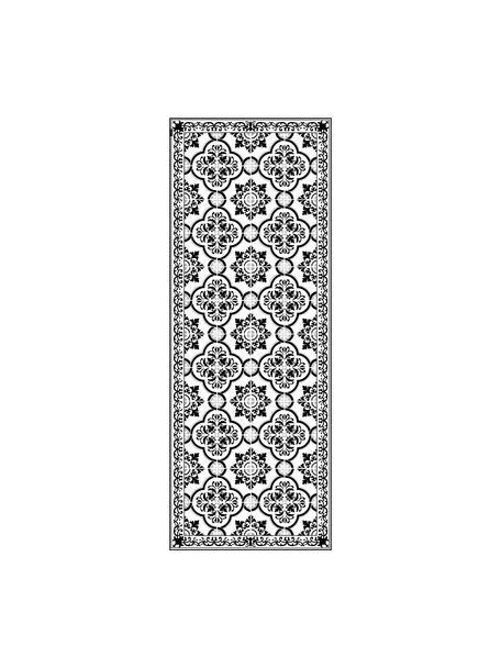 Vlakke vinyl vloermat Elena in zwart en wit, antislip, Recyclebaar vinyl, Zwart, wit, grijs, 68 x 180 cm