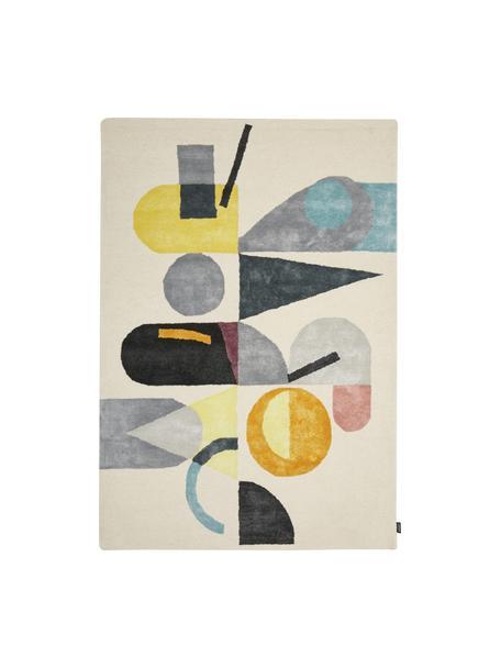 Handgetuft wollen vloerkleed Ladla met abstract patroon, Wol, viscose, Multicolour, B 140 x L 200 cm (maat S)