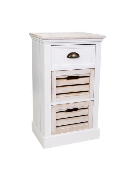 Cómoda Mario, Estructura: madera de paulownia, tabl, Blanco, beige, An 40 x Al 68 cm