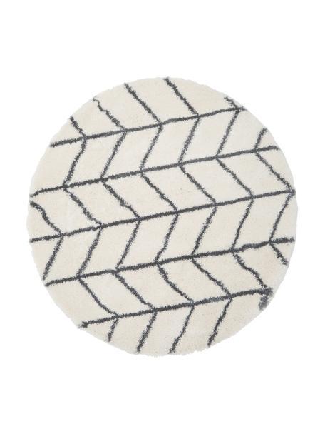 Runder Hochflor-Teppich Cera in Creme/Dunkelgrau, Flor: 100% Polypropylen, Cremeweiß, Dunkelgrau, Ø 150 cm (Größe M)