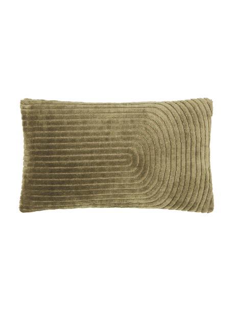 Samt-Kissenhülle Carraway mit Strukturmuster, Vorderseite: 51% Polyester, 49% Viskos, Rückseite: 100% Baumwolle, Grün, 30 x 50 cm