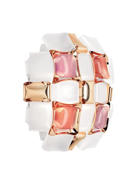 Design Wandleuchte Mida aus Kunststoff, Lampenschirm: Lentiflex, Opalflex, Copp, Rosa, Weiß, Goldfarben, 32 x 32 cm