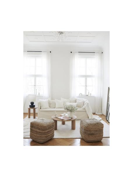 Hussen-Sofa Mila (3-Sitzer) in Cremeweiss, Bezug: Baumwolle Der hochwertige, Gestell: Massives Fichtenholz, Cremeweiss, B 195 x T 82 cm