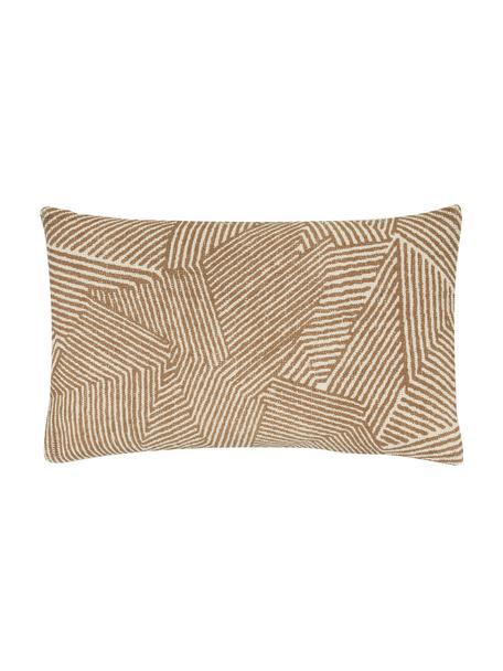 Kissenhülle Nadia mit grafischem Muster in Kamelfarbe, 100%  Baumwolle, Beige,Weiß,Braun, 30 x 50 cm