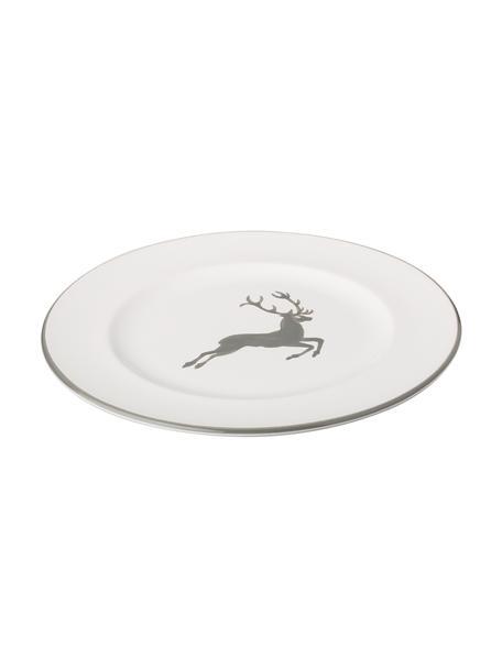 Handbemalter Dessertteller Gourmet Grauer Hirsch, Keramik, Grau,Weiß, Ø 22 cm