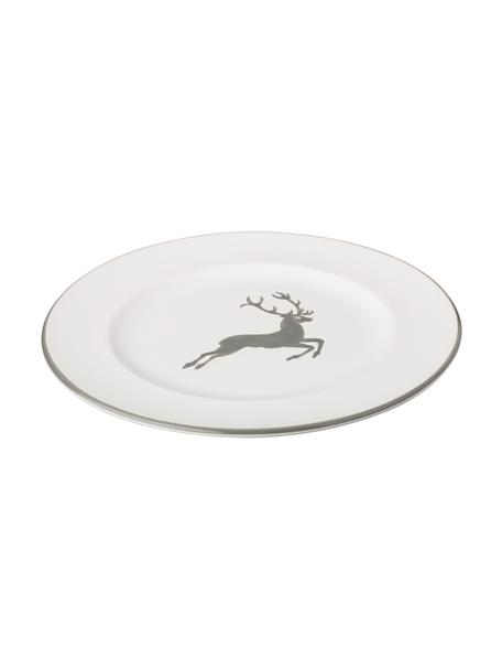 Ręcznie malowany talerz deserowy Gourmet Grauer Hirsch, Ceramika, Szary, biały, Ø 22 cm