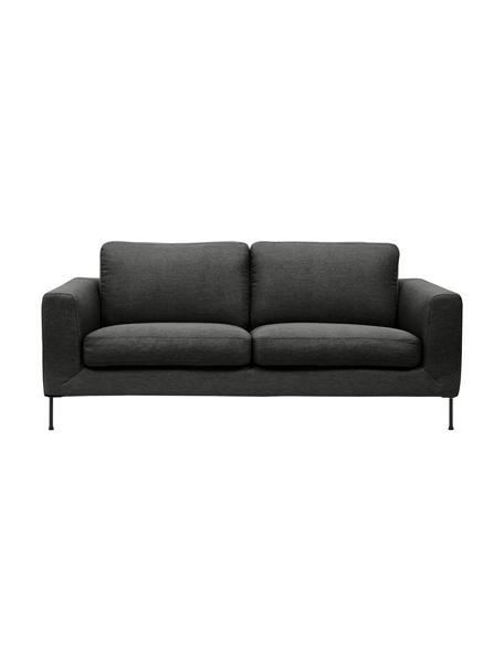 Sofa Cucita (2-Sitzer) in Anthrazit mit Metall-Füßen, Bezug: Webstoff (Polyester) Der , Gestell: Massives Kiefernholz, Füße: Metall, lackiert, Webstoff Anthrazit, B 187 x T 94 cm