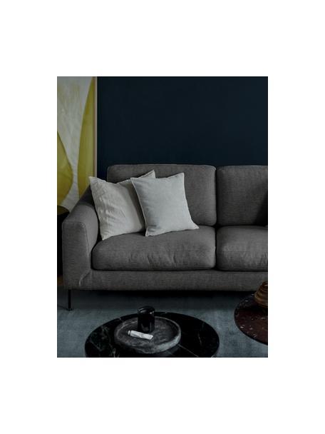 Bank Cucita (2-zits) in antraciet met metalen poten, Bekleding: geweven stof (polyester) , Frame: massief grenenhout, Poten: gelakt metaal, Antraciet, B 187 x D 94 cm