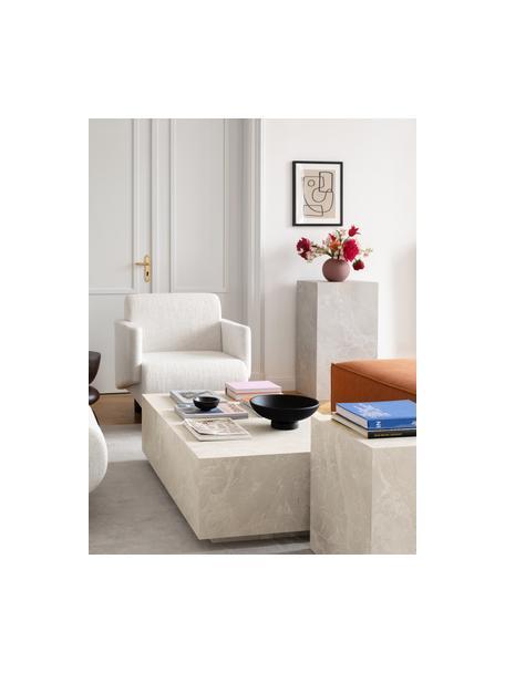 Stolik kawowy z imitacją trawertynu Lesley, Płyta pilśniowa średniej gęstości (MDF) pokryta folią melaminową, Beżowy, imitacja trawertynu, S 120 x W 35 cm