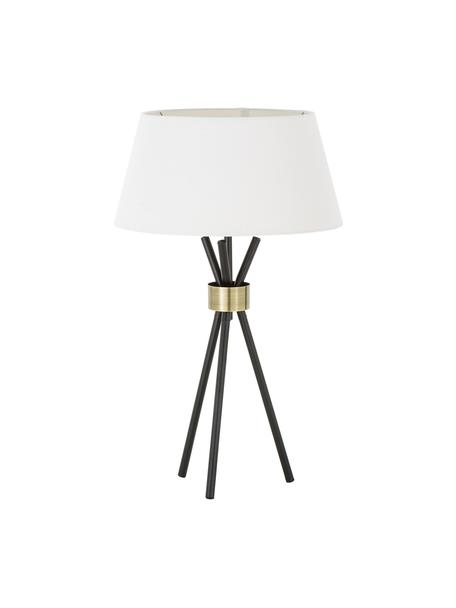 Grote tripod tafellamp Tribeca, Lampenkap: linnen, Lampvoet: gelakt metaal, Decoratie: messing, Wit, zwart, Ø 40 cm
