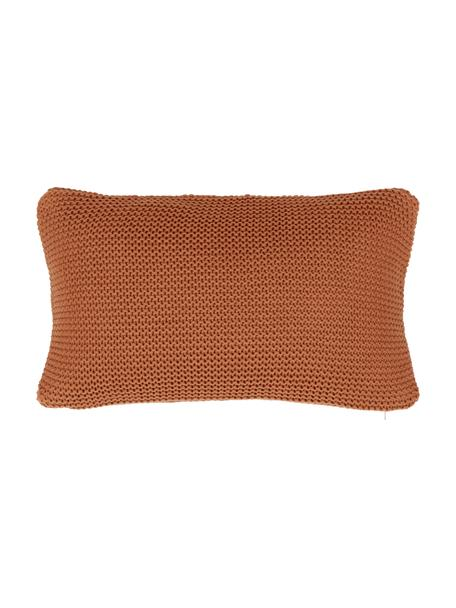 Strick-Kissenhülle Adalyn aus Bio-Baumwolle in Rostrot, 100% Bio-Baumwolle, GOTS-zertifiziert, Rot, 30 x 50 cm
