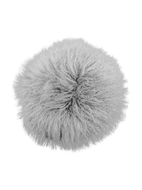 Cuscino sedia rotondo in pelle di agnello a pelo lungo riccio Ella, Retro: 100% poliestere, Grigio chiaro, Ø 37 cm