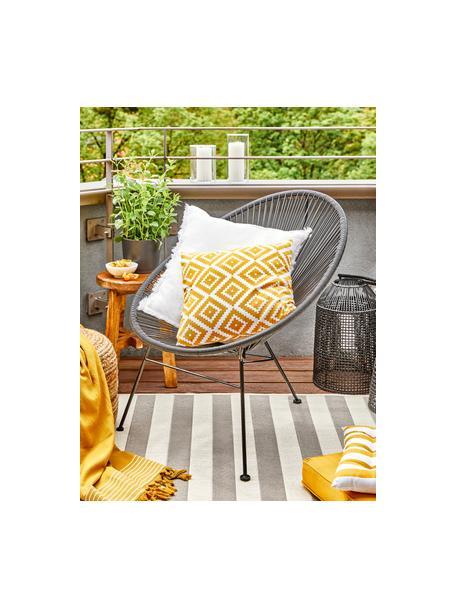 Gestreept in- & outdoor vloerkleed Axa in grijs/wit, 86% polypropyleen, 14% polyester, Crèmewit, grijs, B 80 x L 150 cm (maat XS)