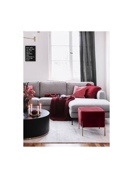 Puf z aksamitu Harper, Tapicerka: aksamit bawełniany, Ciemny czerwony, odcienie złotego, S 46 x W 44 cm