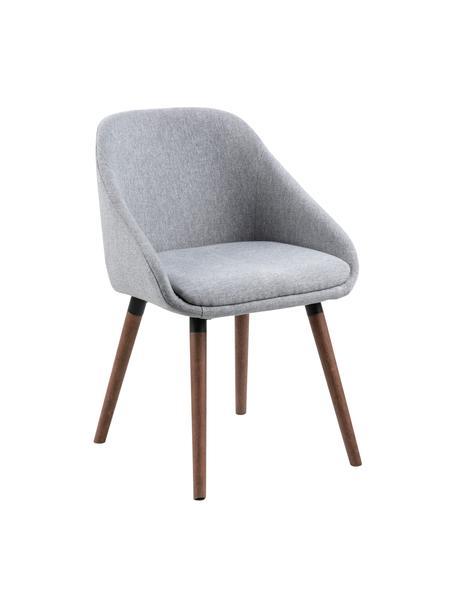 Sedia con braccioli in tessuto grigio Nils, 2 pz, Rivestimento: 100% poliestere Il rivest, Gambe: legno di albero della gom, Grigio chiaro, Larg. 52 x Prof. 56 cm