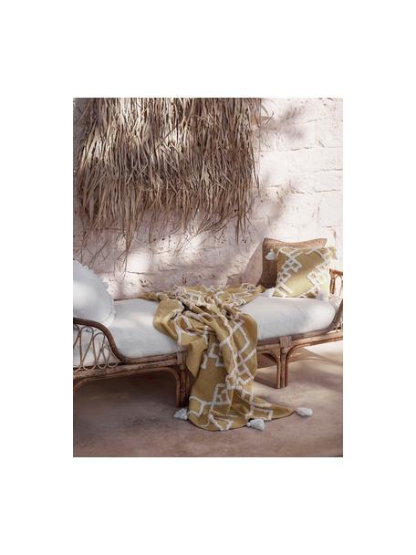 Diván de bambú Blond, Estructura: madera de bambú, Tapizado: algodón, Bambú, blanco, An 185 x F 78 cm