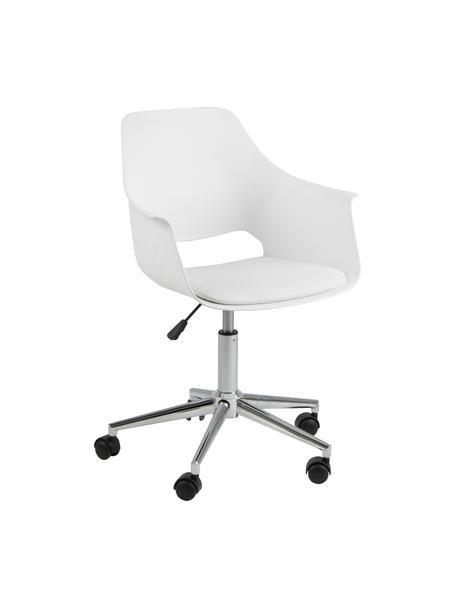 Krzesło biurowe Ramona, obrotowe, Tapicerka: sztuczna skóra (poliureta, Nogi: metal chromowany, Biały, S 57 x G 53 cm