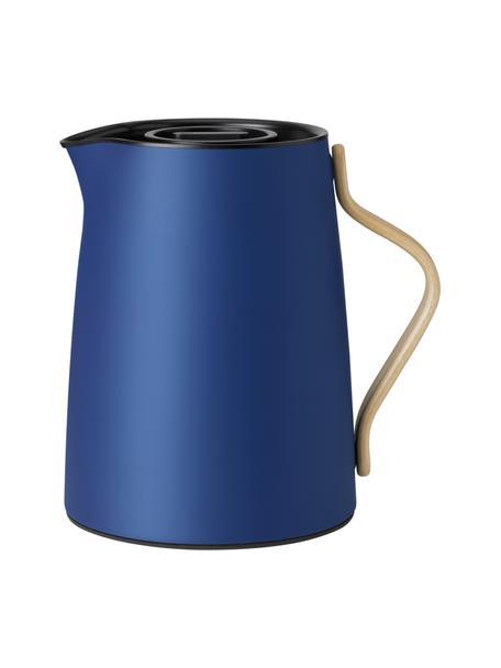 Teiera blu Emma, 1 L, Rivestimento: smalto, Manico: legno di faggio, Blu, beige, 1 L