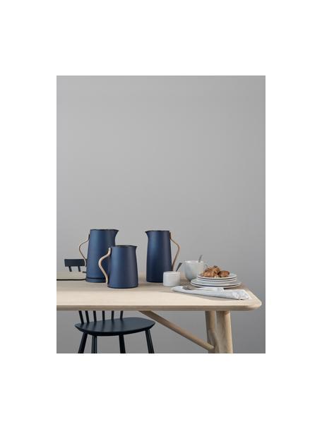 Teezubereiter Emma in Blau, 1 L, Korpus: Edelstahl, beschichtet, Griff: Buchenholz, Blau, Beige, 1 L