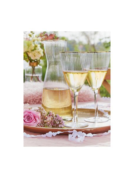 Wijnglazen Golden Twenties met goudkleurige rand, 4 stuks, Glas, Transparant, Ø 9 x H 22 cm