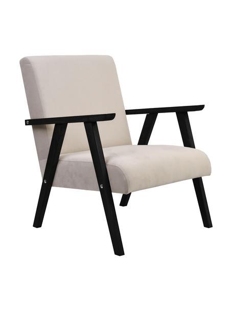 Sedia in velluto con braccioli beige/nero Victoria, Rivestimento: velluto (100% poliestere), Struttura: legno, Velluto beige, gambe nero, Larg. 60 x Prof. 69 cm