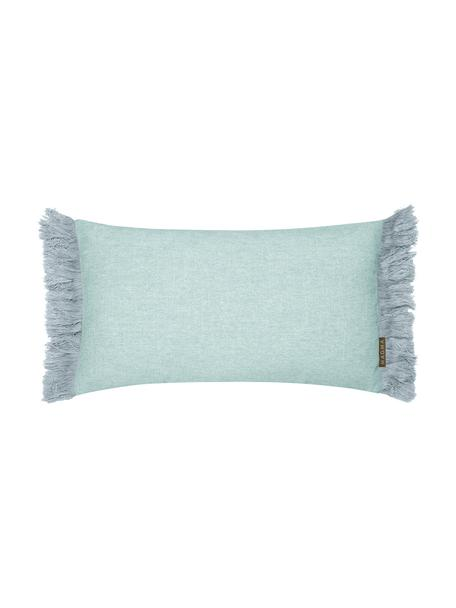 Federa arredo blu menta con frange Tine, Blu menta, Larg. 30 x Lung. 50 cm