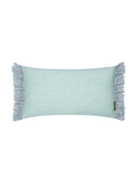 Poszewka na poduszkę z frędzlami Tine, Miętowoniebieski, S 30 x D 50 cm