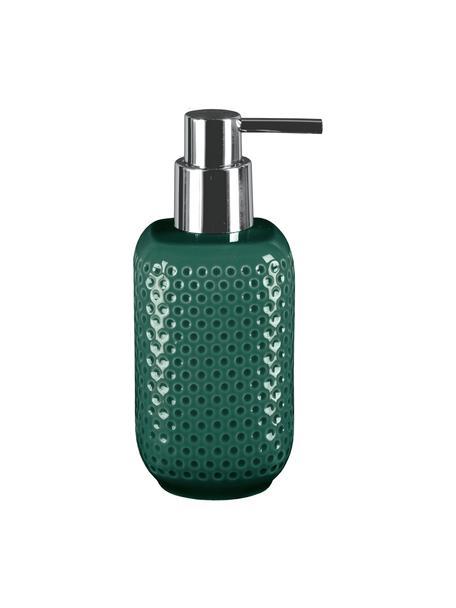 Dosificador de jabón de gres Mila, Recipiente: gres, Dosificador: metal, Verde esmeralda, Ø 8 x Al 17 cm