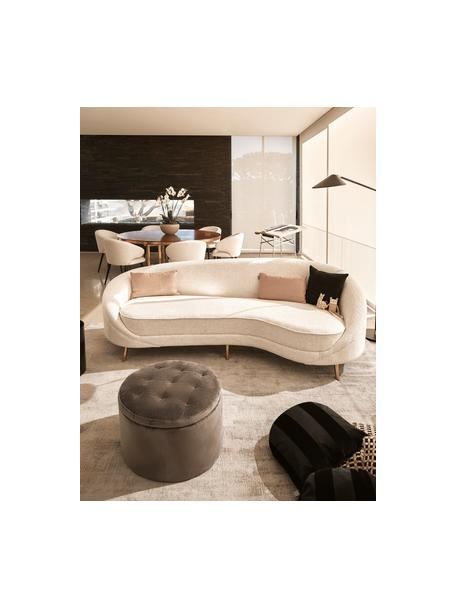 Bouclé bank Gatsby (3-zits) in beige, Bekleding: bouclé (70% polyester, 20, Frame: massief eucalyptushout, Poten: gegalvaniseerd metaal, Bouclé beige, B 245 x D 102 cm