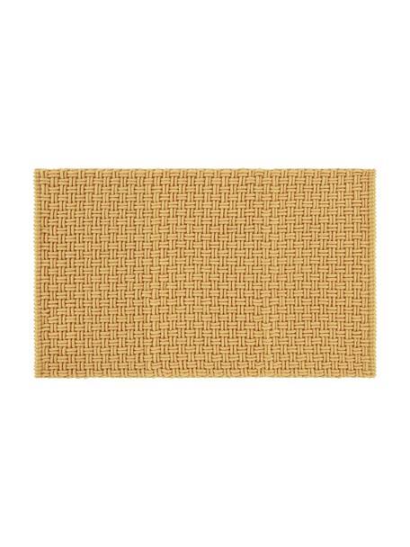 Tappeto bagno giallo strutturato Panama, 60% poliestere, 40% cotone, Giallo, Larg. 50 x Lung. 80 cm