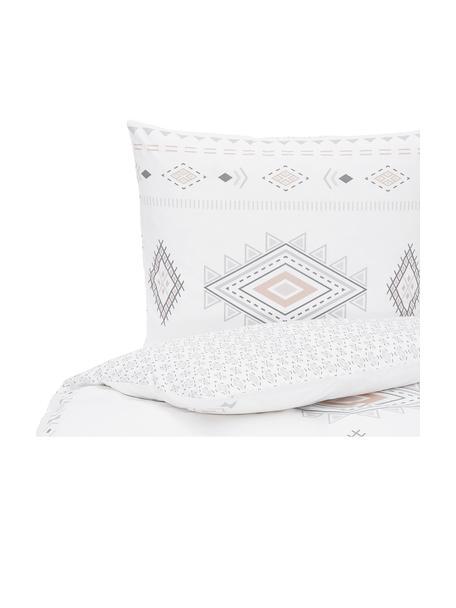 Dwustronna pościel z bawełny w stylu boho Lawana, Biały, wielobarwny, 135 x 200 cm + 1 poduszka 80 x 80 cm