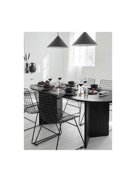 Ovaler Esstisch Toni aus Holz in Schwarz, Mitteldichte Holzfaserplatte (MDF) mit Eichenholzfurnier, lackiert, Eichenholzfurnier, schwarz lackiert, B 200 x T 90 cm